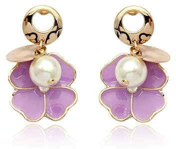 18K Gold Plated Swarovski Elements Crystal Four Leaf Clover 8MM Pearl Earrings-SE3376