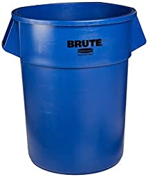 Rubbermaid Commercial 1779732 BRUTE Heavy-Duty Round Waste/Utility Container, 55-gallon, Blue