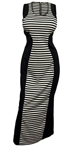 Evogues Plus Size Maxi Dress Black Stripe Print - 1X