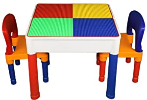 3 In 1 Kids Construction Table Lego Duplo Compatible W 2 Chairs View All Photos from Wonder toys
