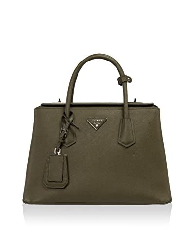 Prada Women's Saffiano Leather Satchel, Militaire Green