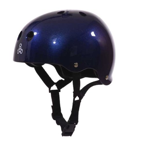 Triple 8 Brainsaver Glossy Helmet with Standard Liner (Blue Metallic, Small)