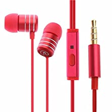 buy Wired In-Earphone Headphones,Holdsound Ep-258 Wired Earphones Universal Drive-By-Wire Hifi Stereo Metal Earbuds With Microphone 3.5Mm Jack For Cellphone Computer Mp3 (Red)