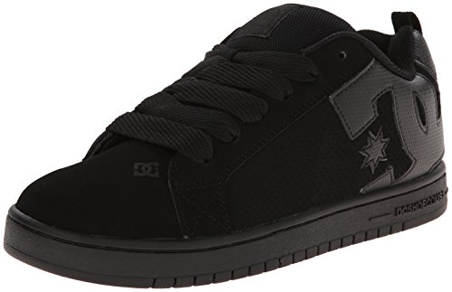 DC Men's Court Graffik Skate Shoe, Black/Black/Black, 13 M US