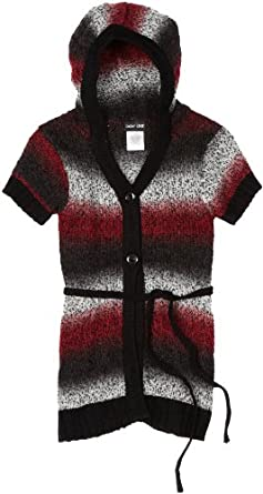 2-Hip by Wrapper Big Girls' Ombre Stripe Long Cardigan With Hoodie, Red/Black, Medium(8)