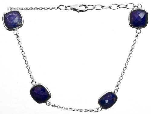Sterling Bracelet With Faceted Gems - Sterling Silver - Color Lapis Lazuli