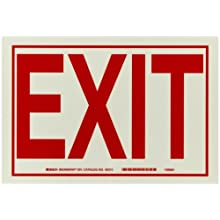 "Brady 80215 7"" Height, 10"" Width, B-324 Polyester, Red On Phosphorescent Color Glow-In-The-Dark Exit And Directional Sign, Legend ""Exit"""
