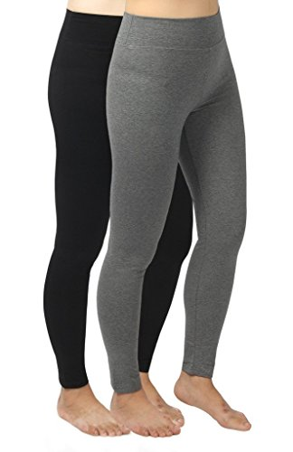 4How 2Pack Women's Casual Pant Trainning Leggings Black +Grey US S