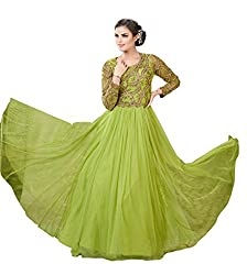 Justkartit Women's Olive Green Colour Soft Net Long flair Stye Wedding Wear Semi-Stitched Gown (Dress Material)