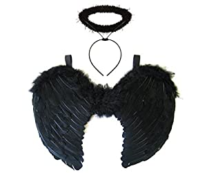 Redstar Black Angel Fairy Wings And Halo - Dark Angel Halloween Fancy Dress Costume Party