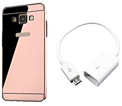 Novo Style Back Cover Case with Bumper Frame Case for Samsung Galaxy E5 Rose Gold + Micro USB OTG Cable Attach Pendrive Card Reader Mouse Keyboard to Tablets Mobile