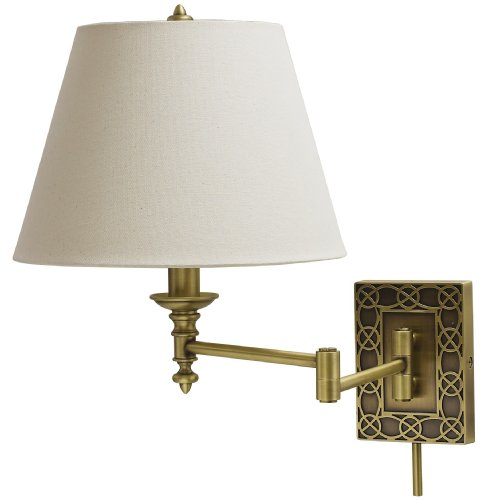 House Of Troy Ws763-Ab Decorative 1Lt Swing-Arm Wall Lamp, Antique Brass Finish With Off-White Fabric Shade front-92641