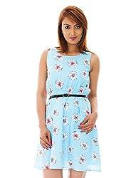 Blue Color Flower Print A Line Dress With Black Belt