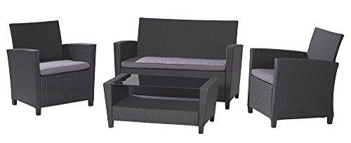Cosco Dorel Industries Outdoor 4-Piece Resin Wicker Patio Set, Black with Grey Cushions