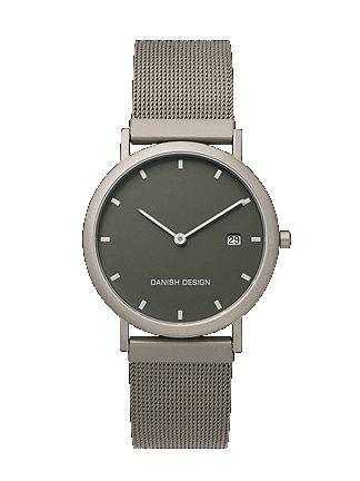 Gents Silver Coloured Titanium Mesh Adjustable Strap Watch Iq63q272