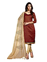 Sonal Trendz Brown Color Embroidery Semi-Stitched Suit. Festive Wear Party Wear