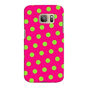 ColourCrust Samsung Galaxy S7 Edge Mobile Phone Back Cover With Polka Dots Pink Pattern Style - Durable Matte Finish Hard Plastic Slim Case