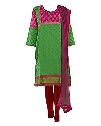 Vama Girl's Chanderi Anarkali Suit (Magenta, 40)