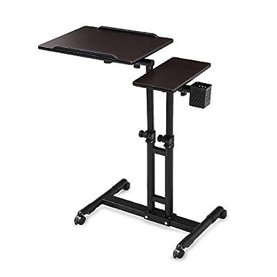 BUREI Standing Adjustable Laptop Computer Desks on Wheels Black
