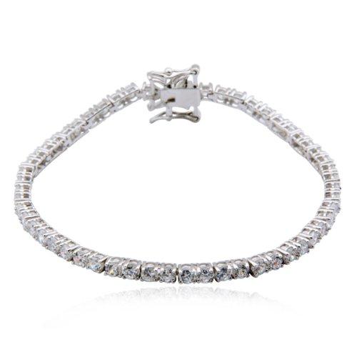 "Sterling Silver Cubic Zirconia Tennis Bracelet, 7.25"""