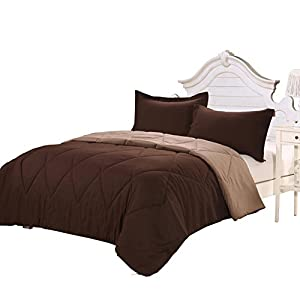 Homehug Polyester Fiber 3Pc Bedding Comforter Set Collection Solid Color Coffee Queen Size Breathable Super-comfortable Suitable for Sensitive Skin Fade Resistance Fine Workmanship Easy Care 100% Quality Guarantee Reasonable Price Fast Delivery