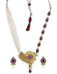 Seasons4 Purple Metal Multi-Strand Necklace-Earring Set For Women-NA10A135