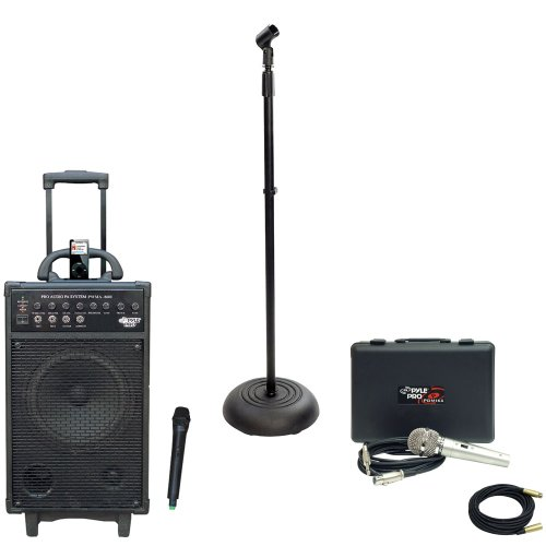 Pyle Speaker, Mic, Stand And Cable Package - Pwma860I 500W Vhf Wireless Portable Pa System /Echo W/Ipod Dock - Pdmik4 Dynamic Microphone With Carry Case - Pmks5 Compact Base Black Microphone Stand - Ppmcl30 30Ft. Symmetric Microphone Cable Xlr Female To X