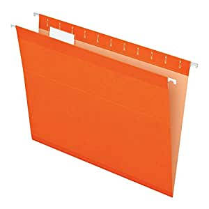 Pendaflex Reinforced Hanging Folders, Letter Size, Orange, 25 per Box (4152 1/5 ORA)