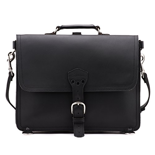 Saddleback Leather Black, Large Thin Briefcase: Perfect for laptop computers, tablets, notepads and binders - Holds up to a 17 inch Macbook.