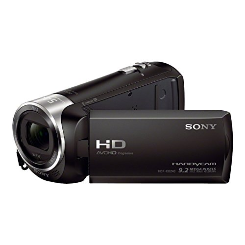 Sony HDR-CX240E Videocamera Handycam, Sensore CMOS Exmor R da 3,1 mm retroilluminato, Obiettivo grandangolare ZEISS con Zoom Ottico 27x, Nero