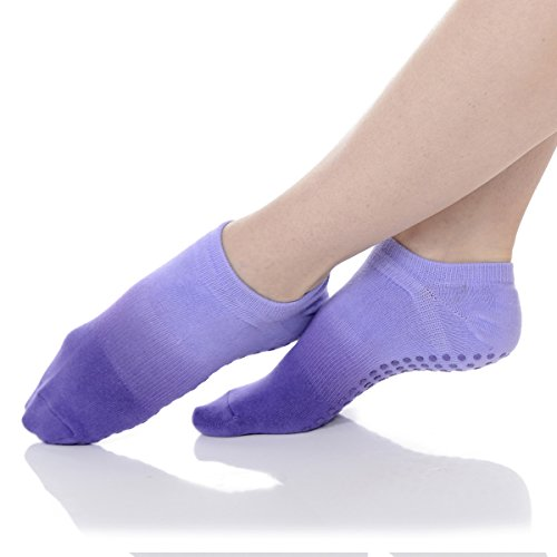 Great Soles Women's Ombre Dyed Grip Socks for Pilates, Yoga, and Barre (One Size - Violet)