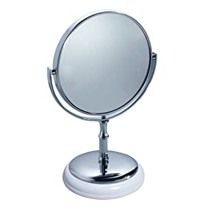 interdesign york round vanity mirror for bathroom countertops white chrome. Black Bedroom Furniture Sets. Home Design Ideas