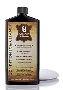 "Leather Conditioner And Cleaner For Furniture, Car Cleaning Kit, Jackets, Handbags, Shoes, Sofa, Seat Covers, Boots, Bags, Purses And More - By ""Leather Nova"" - 3 in 1 Cleaner, Restorer And Protector - 18 oz - Free Applicator Pad - 100% Guarantee from Lea"