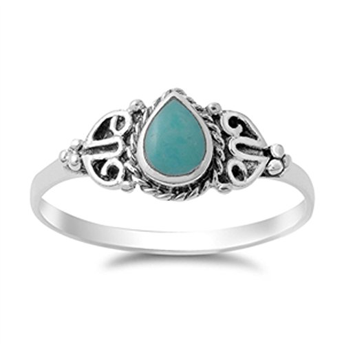 Vintage Celtic Simulated Turquoise Fashion Ring New .925 Sterling Silver Band Size 7 (RNG14145-7) (Silver Turquoise Ring compare prices)
