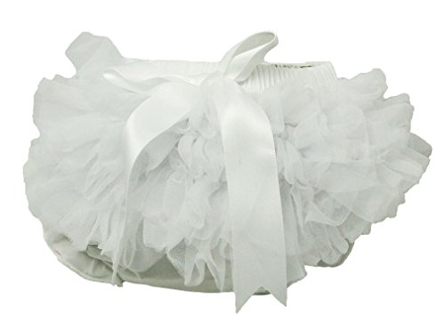 Wholesale Princess Fluffy Ruffled Chiffon White Bloomers-6-24 months (Ruffled White Pettiskirt)