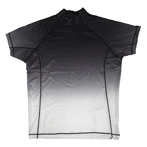 グラデーション 半袖ラッシュガード メンズ 水着 UVブロック 紫外線防止 日焼け防止 リゾート 海外旅行 mrg-43 (L, ブラック×ホワイト)