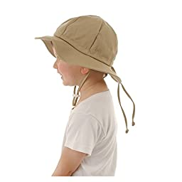 Kids Sun Hat with Chin Strap, Drawstring Adjust Head Size, Breathable 50+ UPF (L: 3Y - 12Y, Beige)