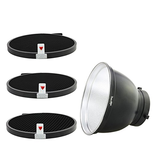 haoge 17,8cm Réflecteur standard avec diffuseur Grille nid d'abeille 204060degrés pour fixation Bowens Studio Flash stroboscopique