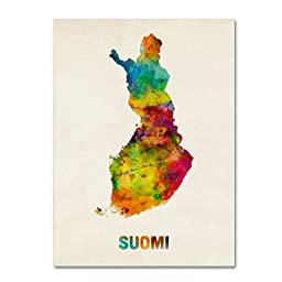 Trademark Fine Art Finland Watercolor Map \'Suomi\' Artwork by Michael Tompsett, 24 by 32-Inch