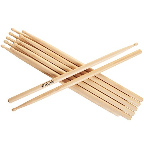 esecure-12-drum-sticks-6-pairs-5a-drumsticks-maple-high-quality-wood-uk