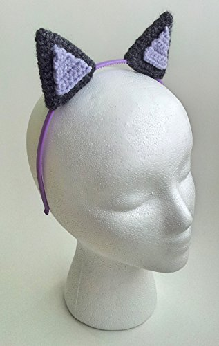 Handmade crochet grey and lilac cat ears headband (Homemade Halloween Costumes For Men)