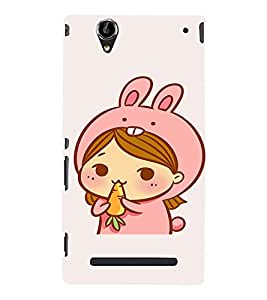 EPICCASE Girl As cute Rabbit Mobile Back Case Cover For Sony Xperia T2 (Designer Case)