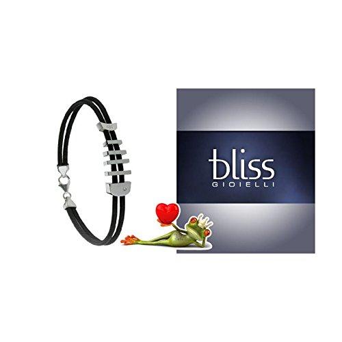 Bliss - Bracciale uomo Bliss in acciaio, caucciù e diamante