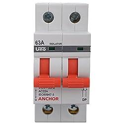Anchor 98056 2 Pole UNO Series Isolator, 63 Amp, White