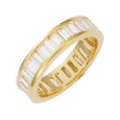 18K Gold Plated Clear Cubic Zirconia Eternity Wedding Band Ring - Size 6