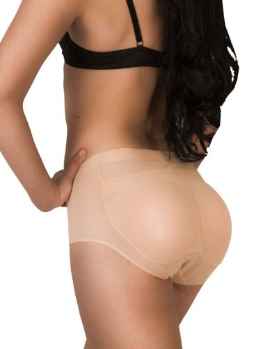 Sexy Silicone Padded Buttocks Seamless Butt Hip Enhancer Tummy Control Shaper Panties in Beige Size L - 011 UNO 7010