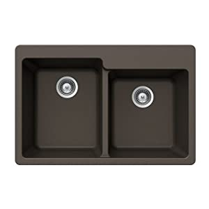 Houzer ALIVE N-175 BRONZE Schock-Houzer Alive Series N-175 Topmount 60/40 Double Bowl Kitchen Sink, Bronze