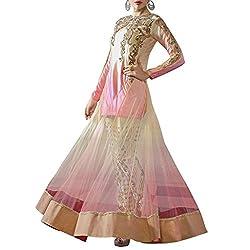 Bhelpuri Women Pink and Beige Net Semi-stitched Salwar Kameez