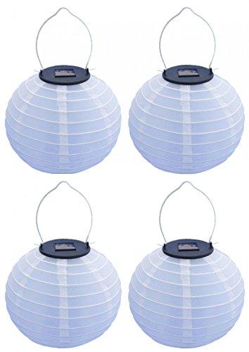 led solar lampion laterne kugelleuchte wei zum h ngen 20 cm 4 st ck set. Black Bedroom Furniture Sets. Home Design Ideas