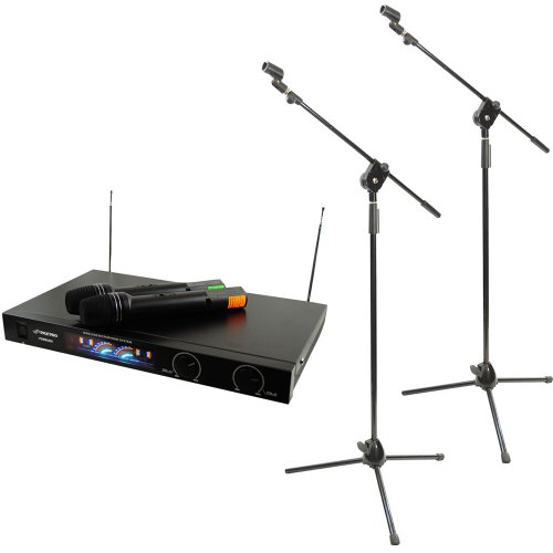 Pyle Mic And Stand Package - Pdwm2450 Wireless 2 Channel Vhf Microphone System With 2 Microphones - 2X Pmks3 Pair Of Tripod Microphone Stand W/ Extending Boom